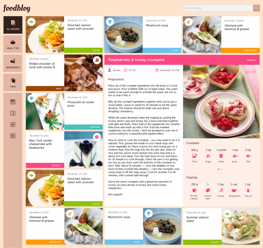 Food Blog Free Template