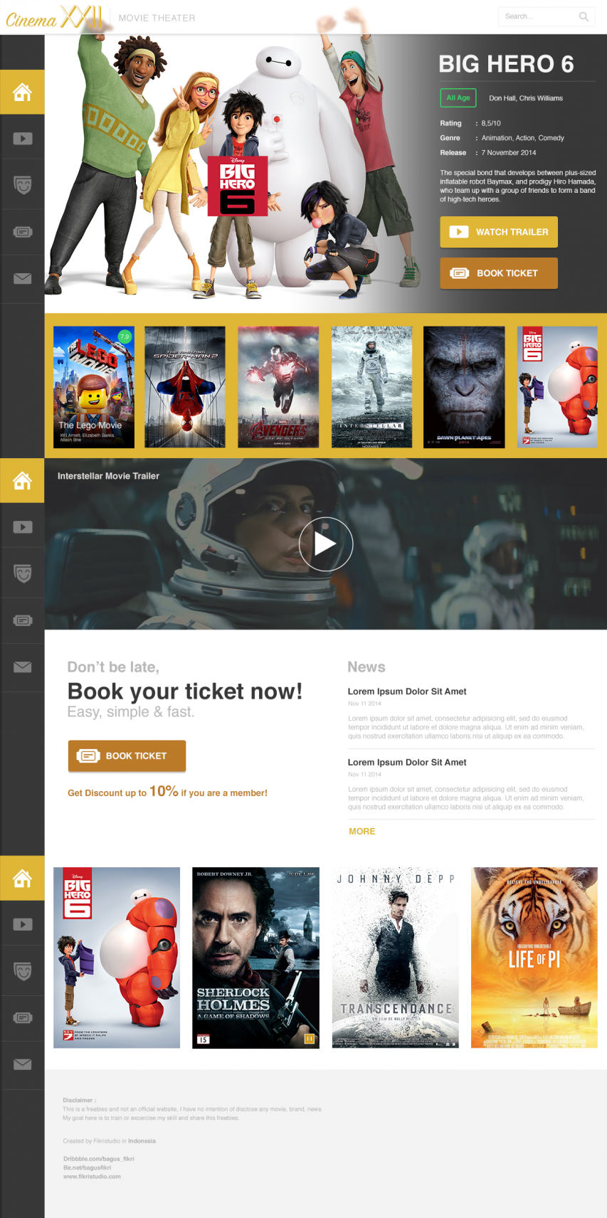 Movie Cinema Website PSD