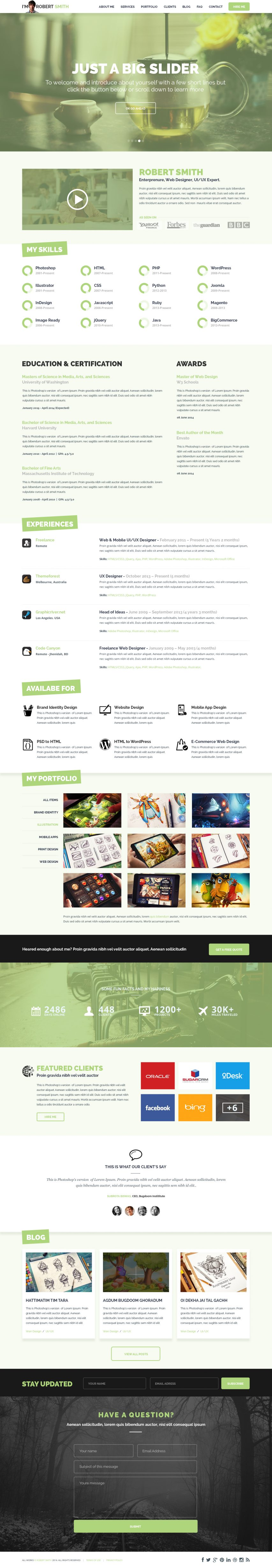 One Page Resume Website