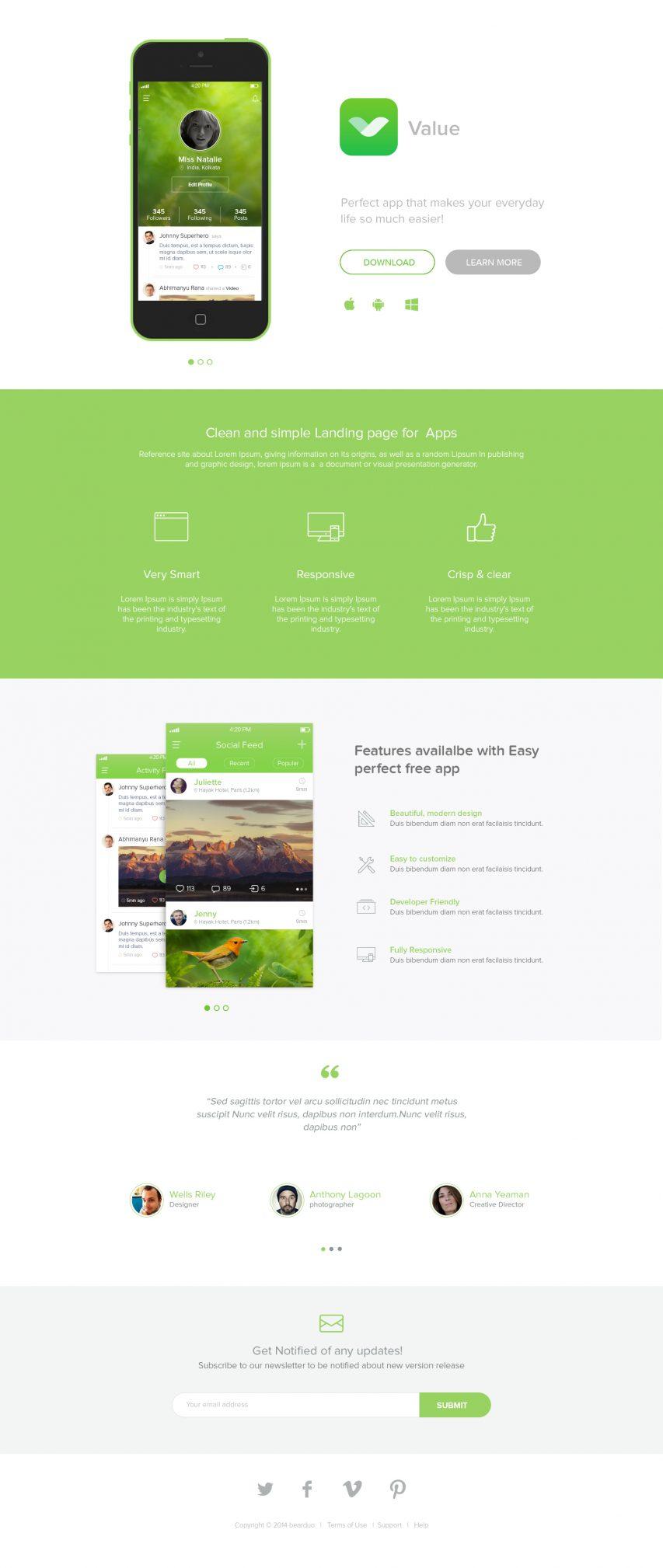 App Landing Page Freebie PSD