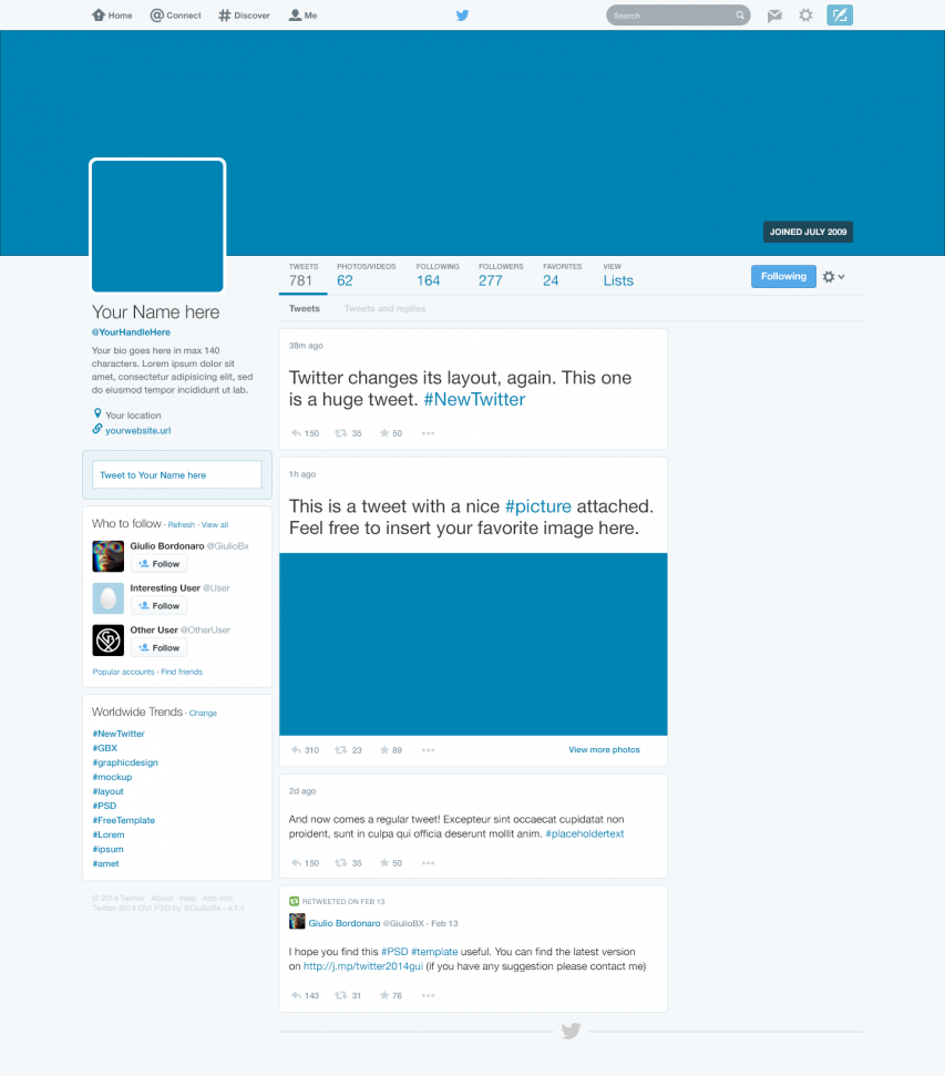 Twitter 2014 GUI New Profile Design