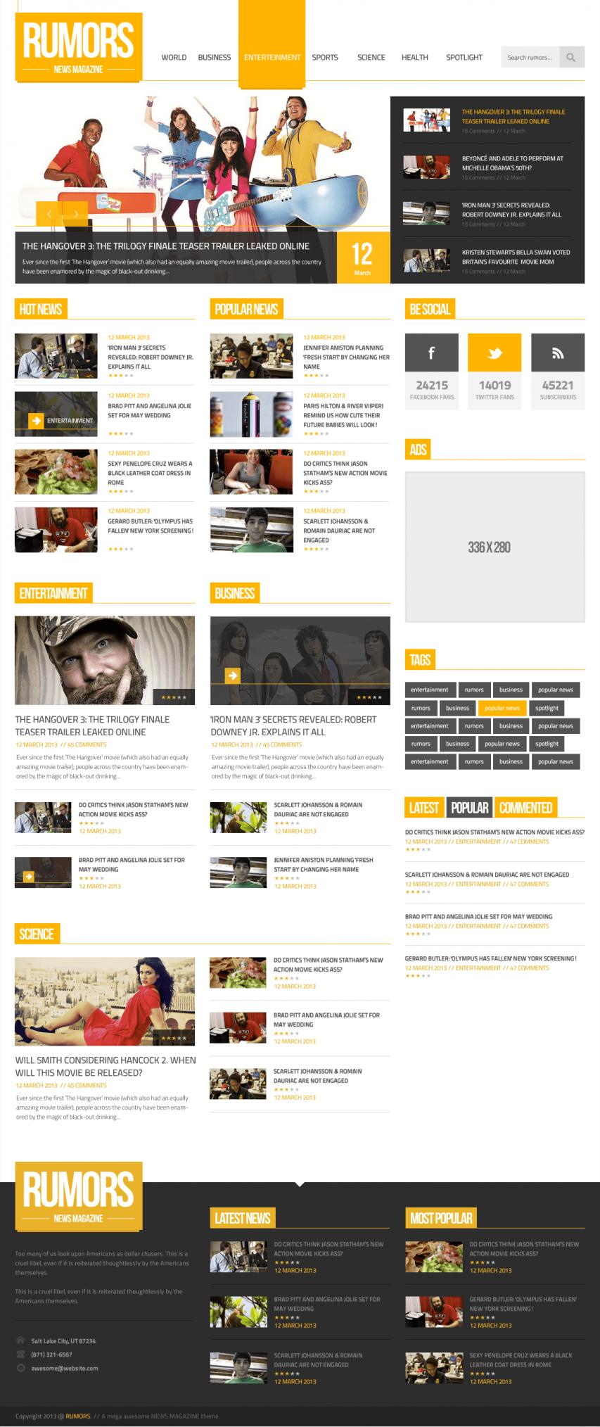 News Magazine Homepage PSD