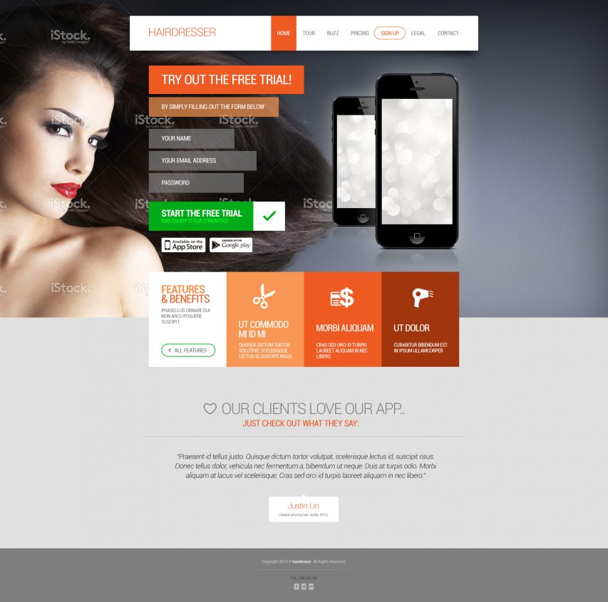 Hairdresser's Flat Website Template Homepage