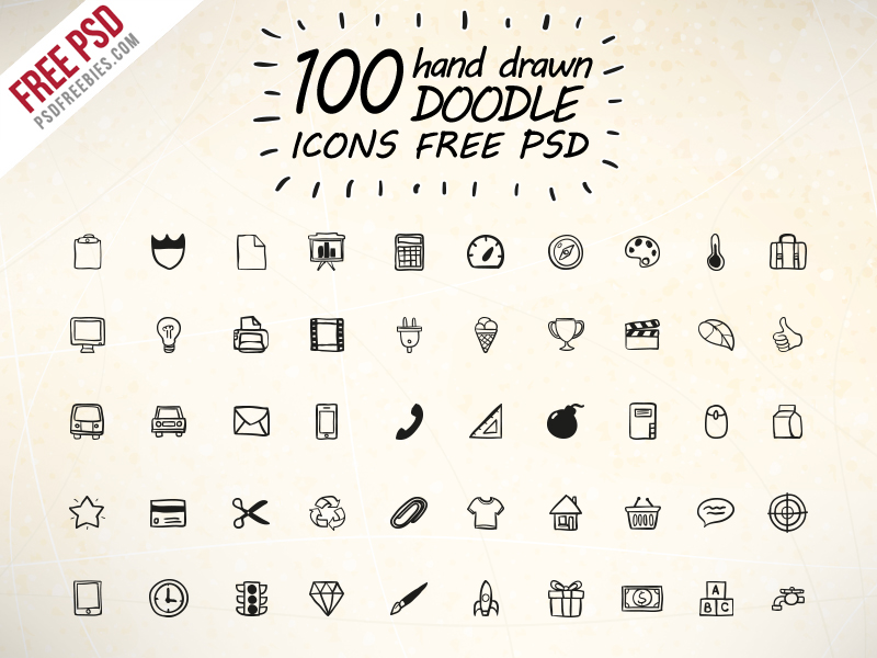 100 Hand Drawn Doodle Icons Free