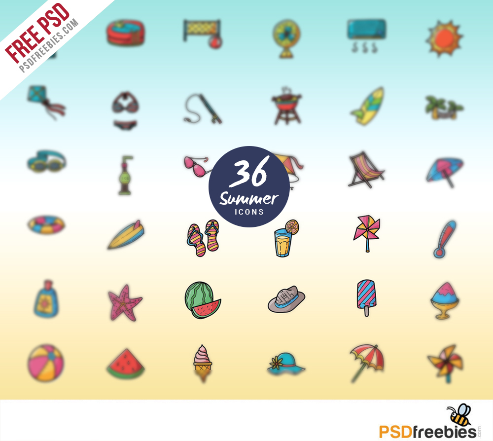Summer Vacations and Holidays Icon set Free