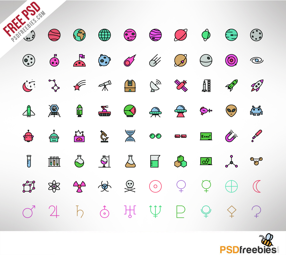 100 Spaces And Science Icons Colored PSD