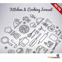 Kitchen & Cooking Outline Iconset Free