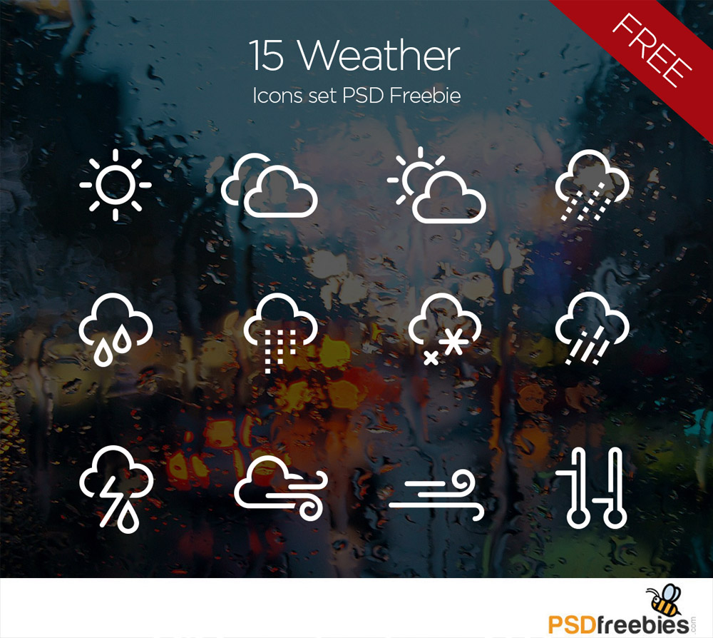 15 Weather Icons Set PSD