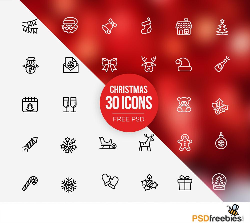 30 Christmas Icons Set Free