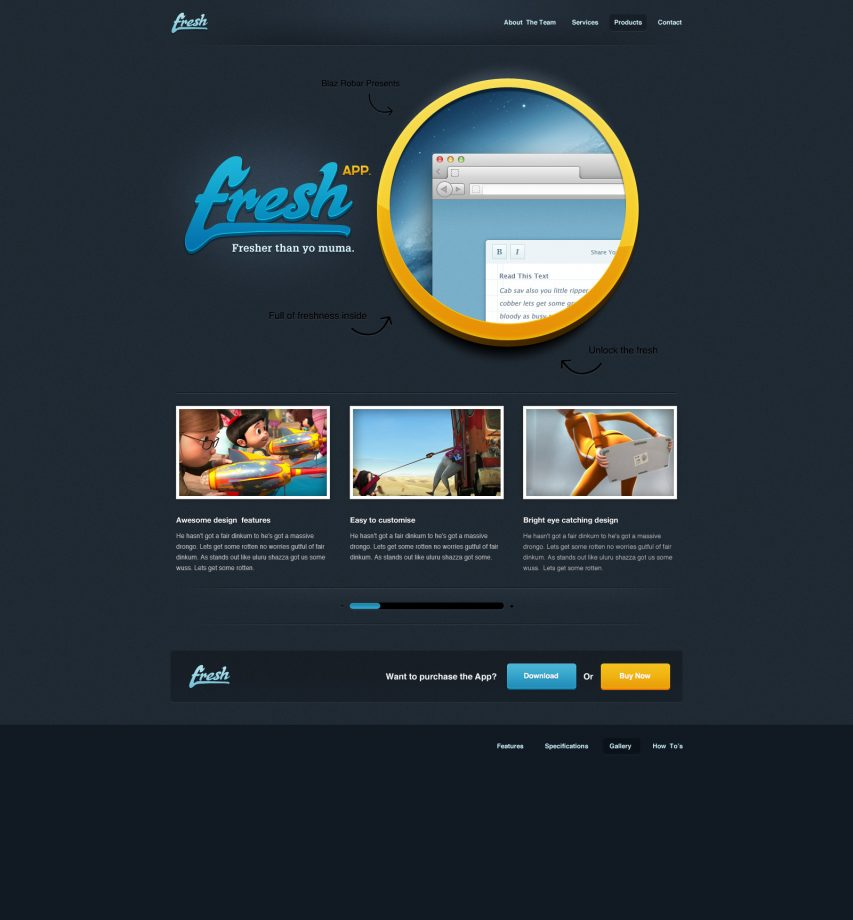 Black Fresh App Website Template