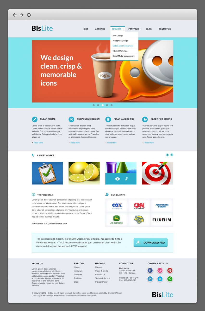 BisLite Business Website PSD