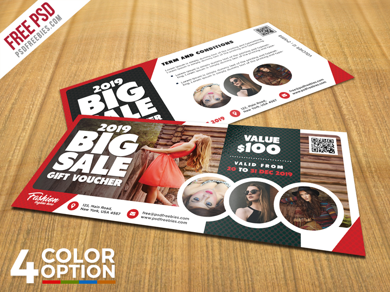 Big Sale Gift Voucher PSD Template Bundle