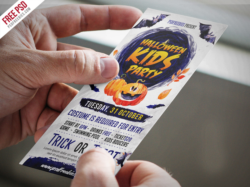 Halloween Kids Party Invitation Card PSD