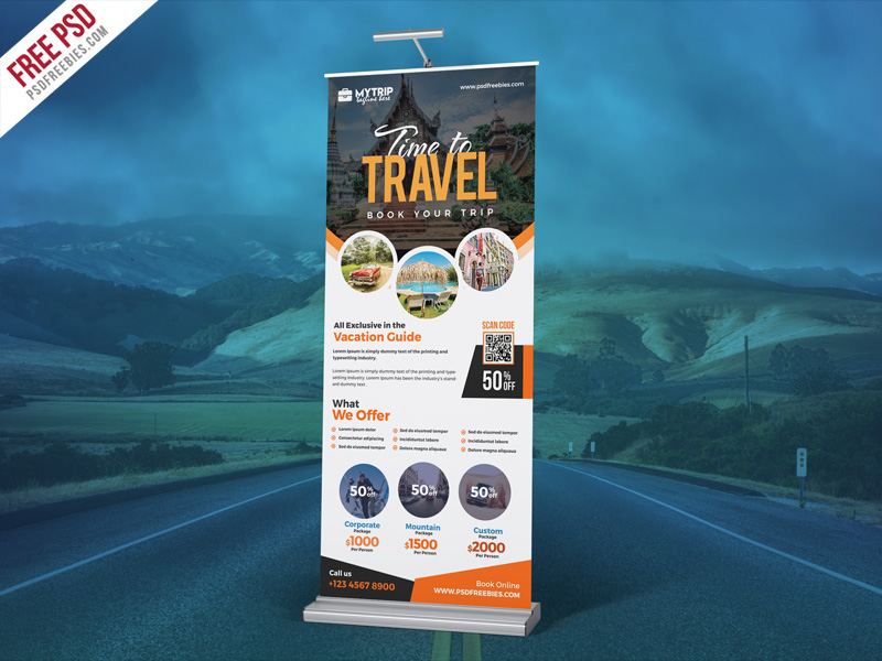 Tour Travel Roll-Up Banner PSD