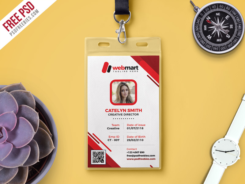 Free Photo Identity Card PSD Template