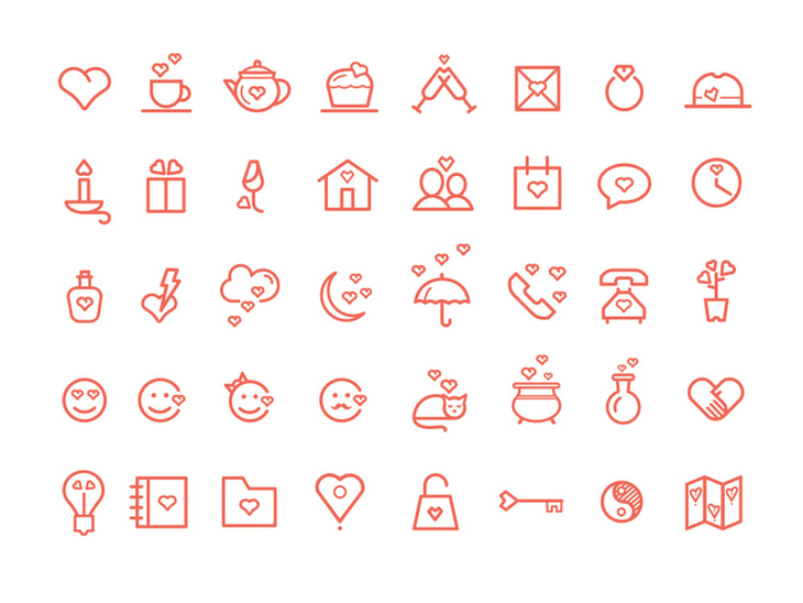 Valentine's Day PSD Icons