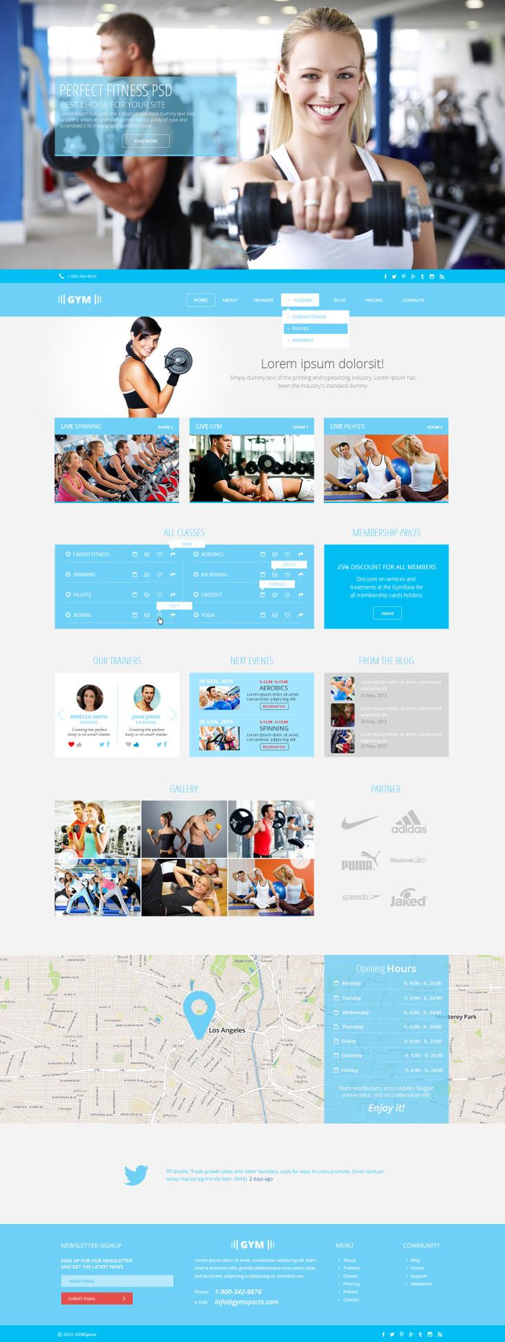 Gym Sports Free PSD Template