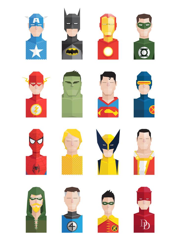 16 Flat Super Heroes Icons