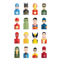 16 Flat Super Heroes Icons