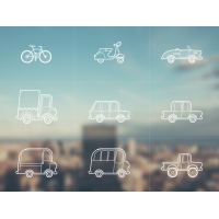 9 Vector Outline Vehicle Icons