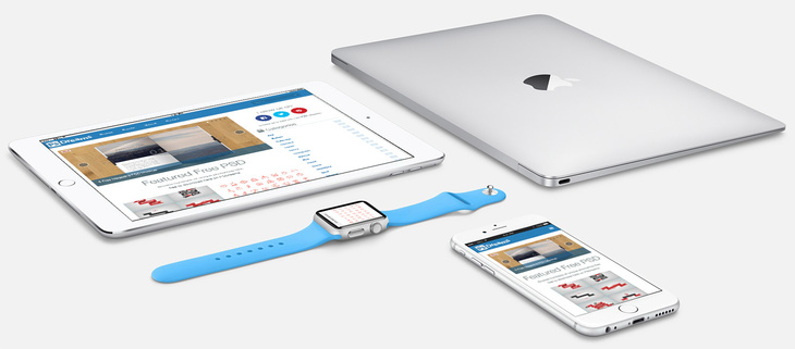 Silver Apple Devices PSD Mockup