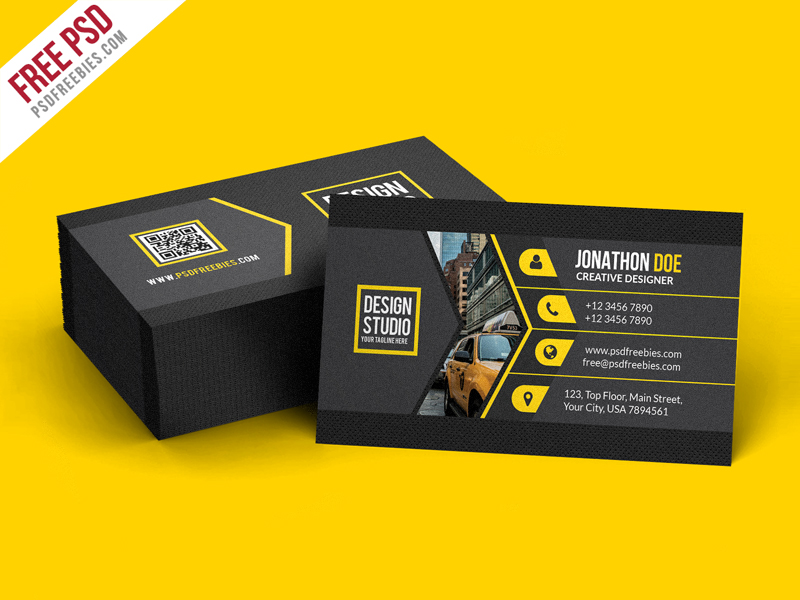 Creative Black Business Card Template PSD