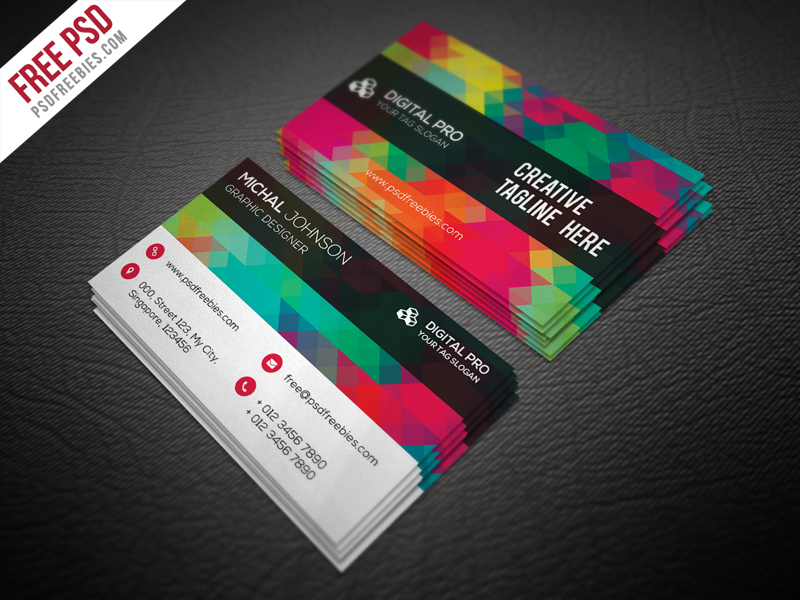 Creative Multicolor Business Card Template Free PSD