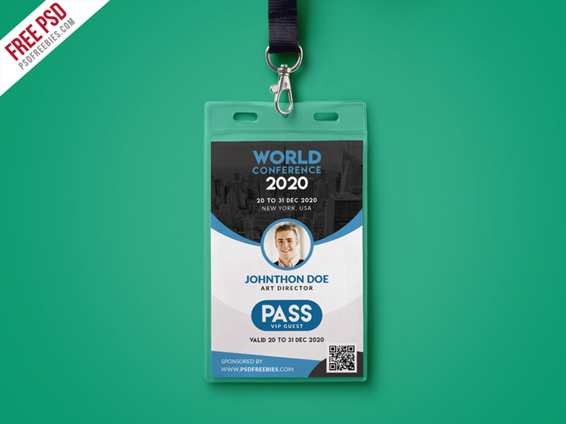 Conference VIP Entry Pass ID Card Template PSD