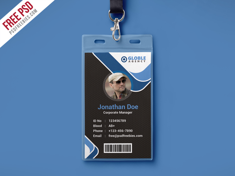Multipurpose Dark Office ID Card Free PSD Template