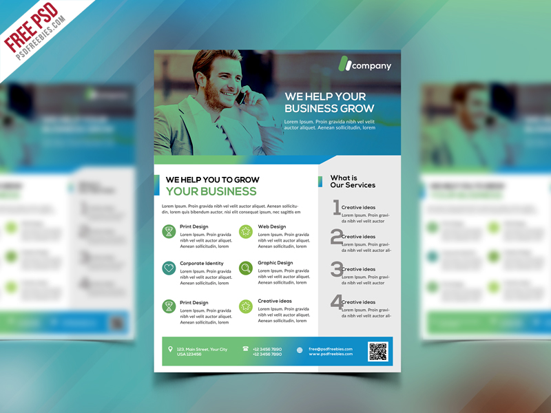Clean Business Flyer Template Free PSD