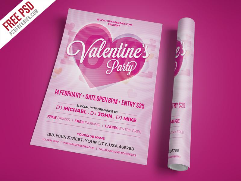 Modern Valentines Party Invitation Flyer PSD