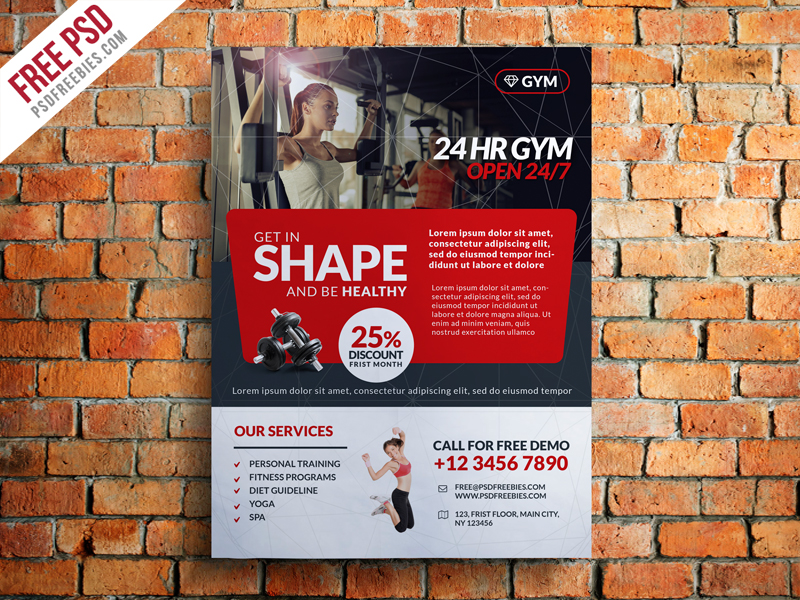 Gym and Fitness Club Flyer Template Free PSD