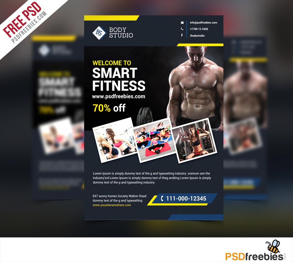 Fitness or Gym Flyer template Free PSD