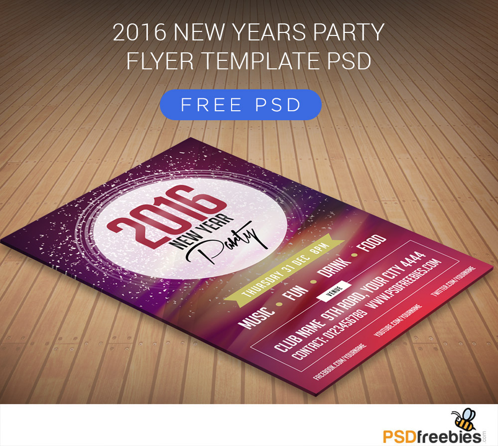 2016 New Years Party Flyer Free PSD