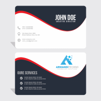 Business Card With Red Wavy Lines