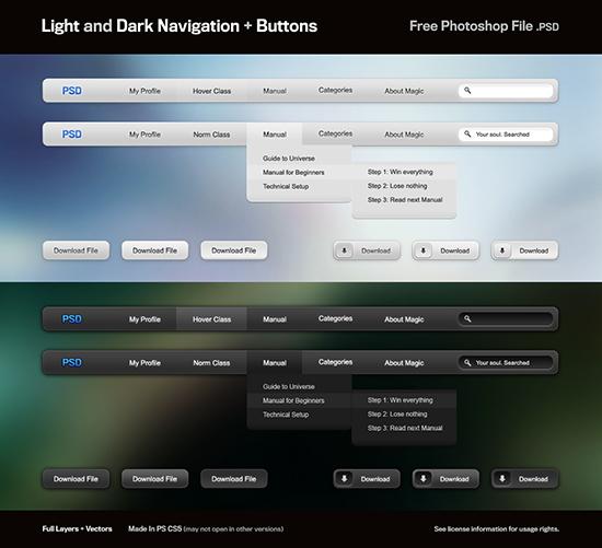 Light And Dark Nav Buttons