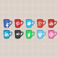 Social Icons Coffee Cups