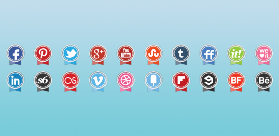 Round Ribbon Icons Set