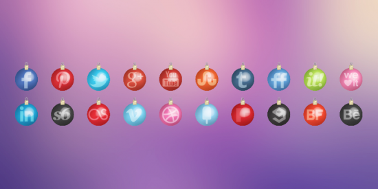 Christmas Toys Social Media Icons Set