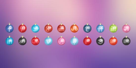 Christmas Toys Social Media Icons Set