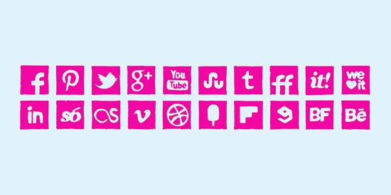 Pink Ink Icons Set