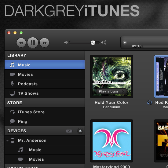 Dark Grey ITunes Interface
