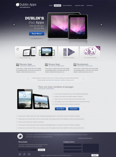 Dublin IPad Apps Template By Cssauthor