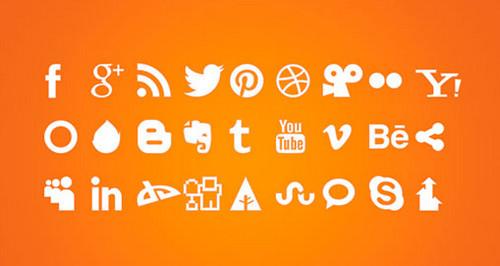 White Social Icons PSD