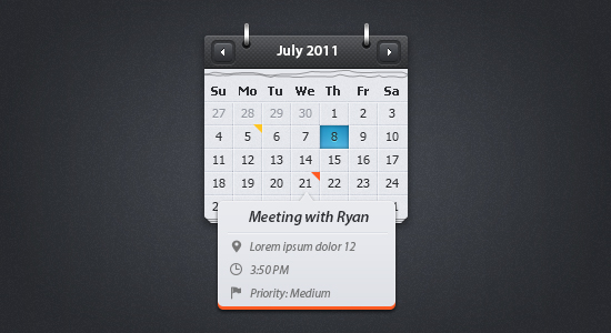 Calendar With Event Preview By Kiraly Tamas