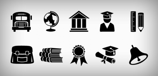 Education Icons Set PSD And PNG