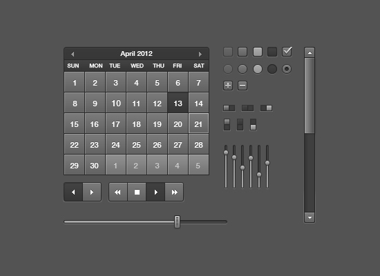 Black Calendar UI Elements By Sebastien Gabriel
