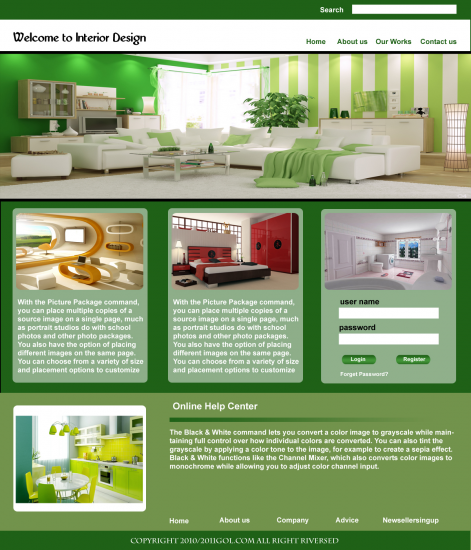 Interior Design Site Template PSD