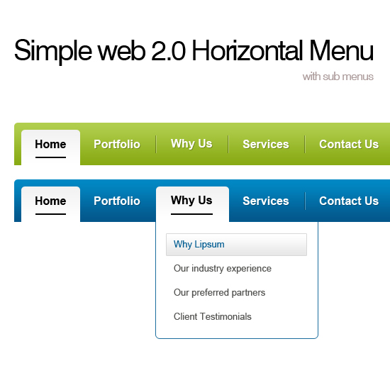 Horizontal Menu With Dropdown PSD