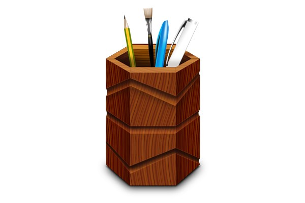 Wooden Pen Stand & Icons